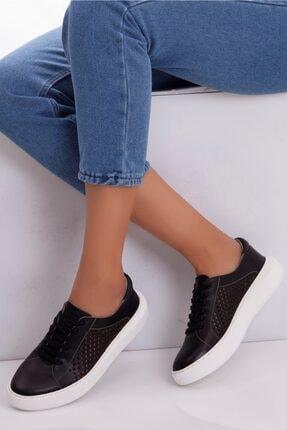 Deripabuc Hakiki Deri Siyah Kadın Deri Sneaker Trc-7634 1