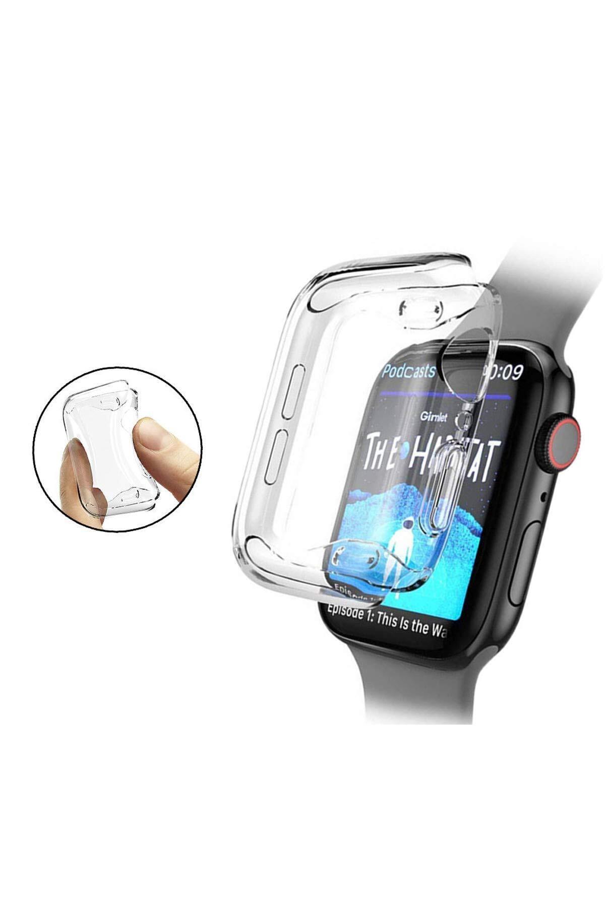Apple Watch 1 2 3 4 5 6 Se Serisi ( 44mm ) 360 Tam Koruma Şeffaf Silikon Kılıf