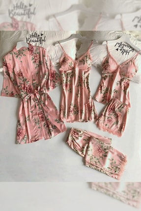 Pembishomewear Özel Tasarım 6 Lı Somon Çiçekli Saten Pijama Seti 0