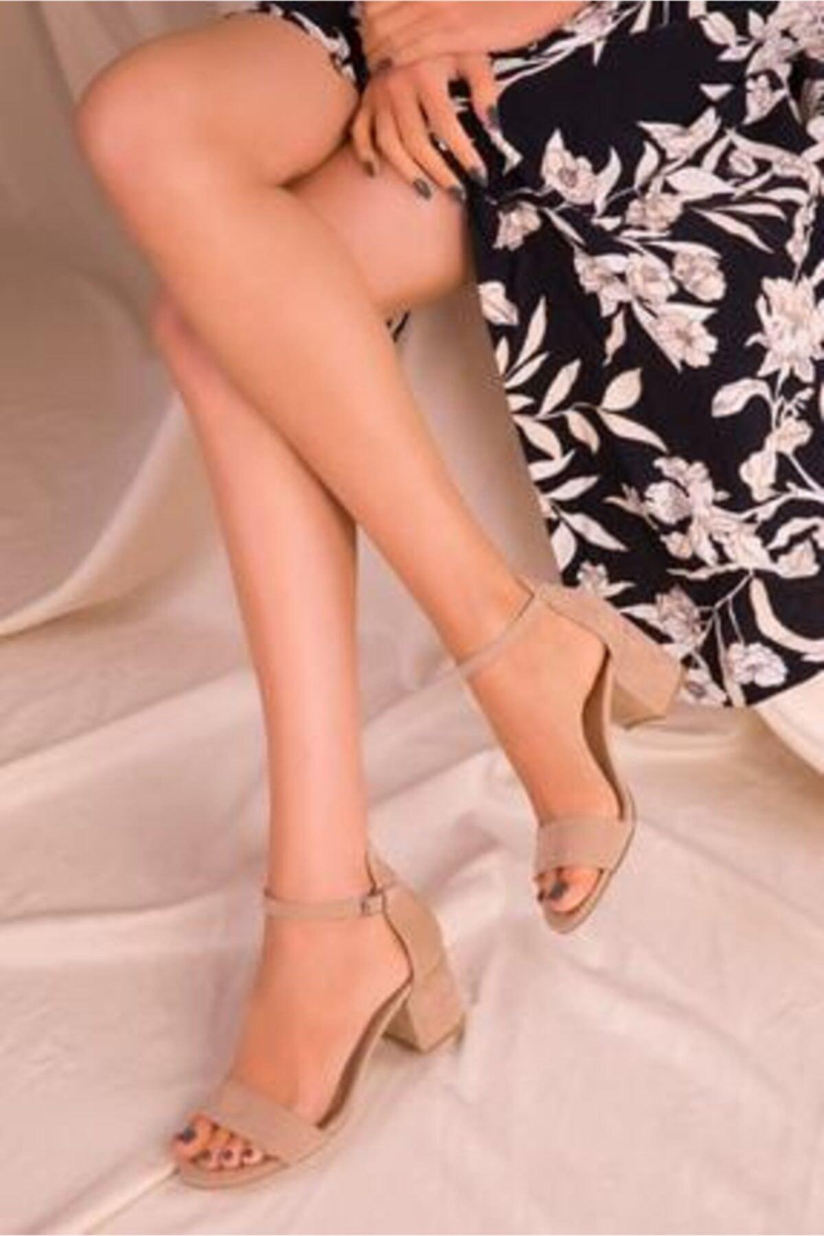 Kadın Tek Bant Alçak Topuklu Sandalet Ten Süet