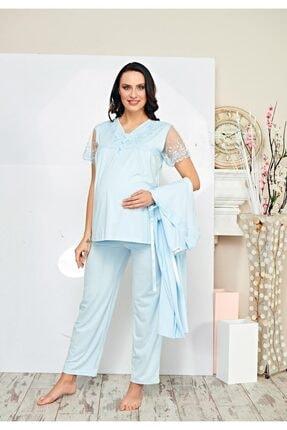 Poleren Kadın 3'lü Sabahlık Lohusa Pijama Takım 5692 1