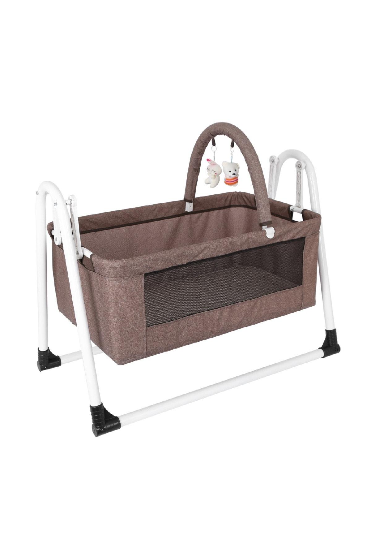 Jimmy Baby Beşik Yıkanabilir Kumaş Bebek Beşiği Oyuncaklı Portatif Sepet Beşik Kahverengi Beşik