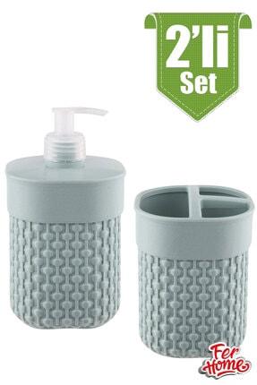 FERHOME 2'li Banyo Seti Sıvı Sabunluk Diş Fırçalığı Banyo Seti Diş Fırçalık Sıvı Sabunluk Deterjanlık 2