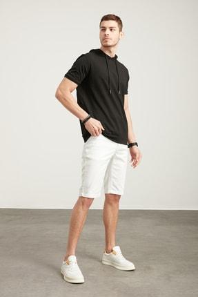Tena Moda Erkek Siyah Kapşonlu Etek Bantlı Tişört 4