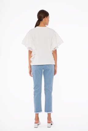 GIZIA Kadın Mavi İşlemeli Pantolon M1d040 2