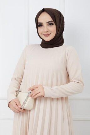 Moda Krash Kadın Bej Piliseli Soley Elbise 2