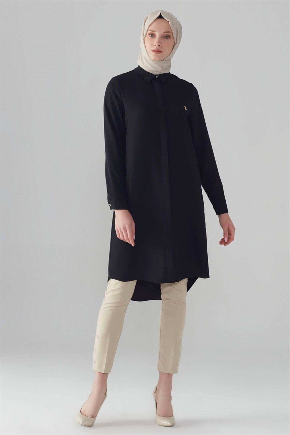 Gizli Düğme Detaylı Tunik Siyah T-0767