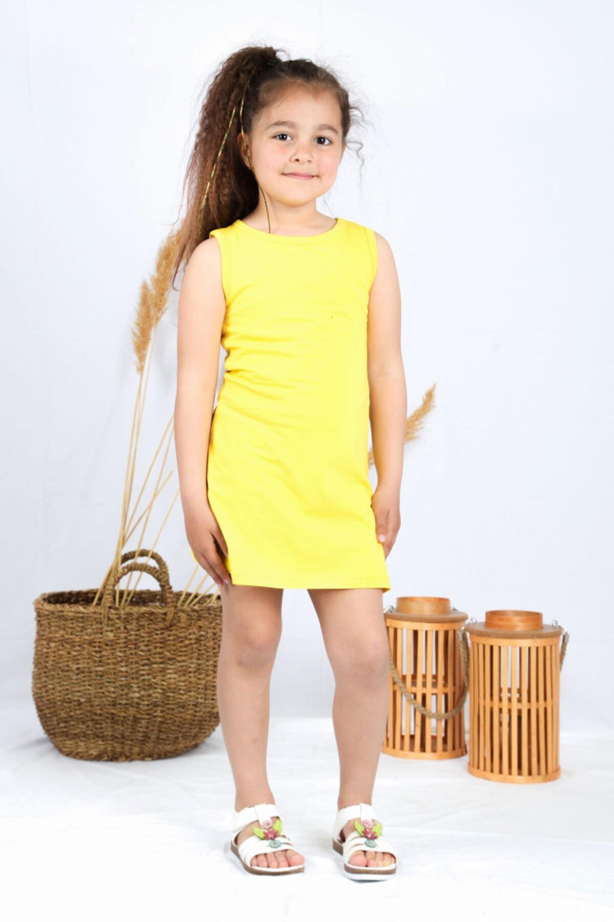 Kız Çocuk Sarı Tunik Elbise