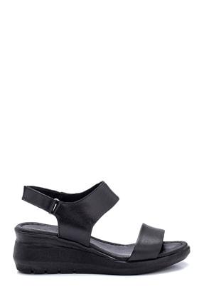 Derimod Kadın Siyah Deri Kalın Tabanlı Sandalet 0