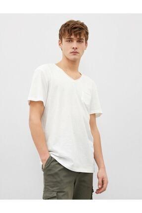 Koton Erkek Ekru V Yaka Basic Kısa Kollu Pamuklu T-Shirt 1