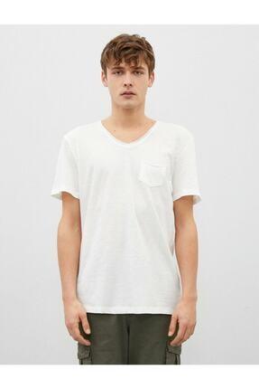 Koton Erkek Ekru V Yaka Basic Kısa Kollu Pamuklu T-Shirt 2