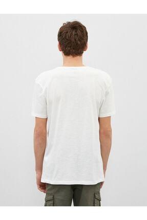 Koton Erkek Ekru V Yaka Basic Kısa Kollu Pamuklu T-Shirt 3