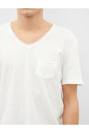Koton Erkek Ekru V Yaka Basic Kısa Kollu Pamuklu T-Shirt 4