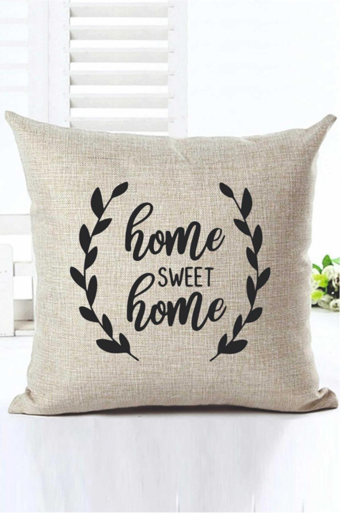 Home Sweet Home Dekoratif Kırlent Kılıfı Kr00012