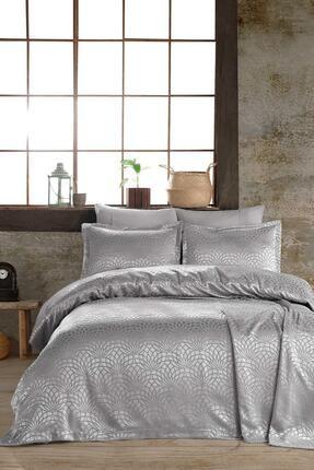 Hayal Evi Gümüş Premium Çift Kişilik Jakar Şönil Kumaş Yatak Örtüsü Takımı 1