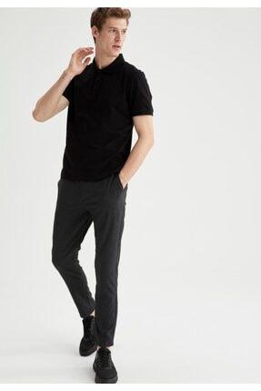 Defacto Regular Fit Polo Yaka Basic Kısa Kollu Siyah Tişört 1