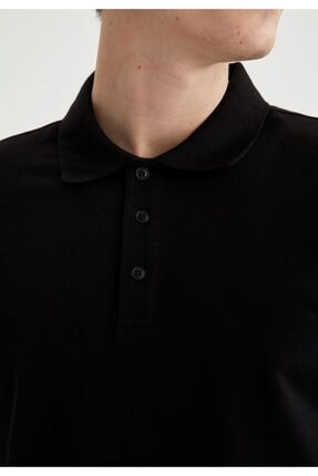 Defacto Regular Fit Polo Yaka Basic Kısa Kollu Siyah Tişört 2