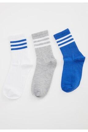 Defacto Desenli 3'lü Soket Çorap 0
