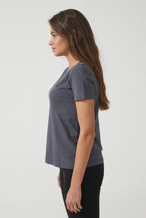 CROSS JEANS Kadın Antrasit Bisiklet Yaka Regular Basic T-shirt 55795-021 1