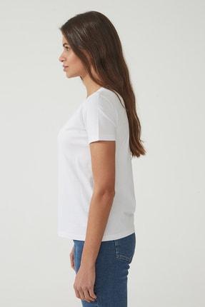 CROSS JEANS Kadın Beyaz Bisiklet Yaka Regular Basic T-shirt 55795-008 2