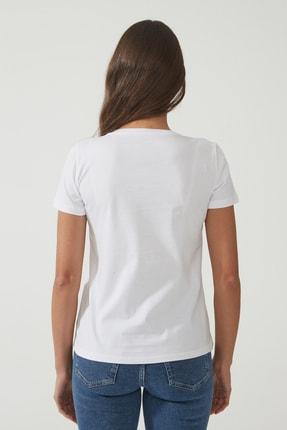 CROSS JEANS Kadın Beyaz Bisiklet Yaka Regular Basic T-shirt 55795-008 3