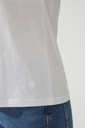 CROSS JEANS Kadın Beyaz Bisiklet Yaka Regular Basic T-shirt 55795-008 4