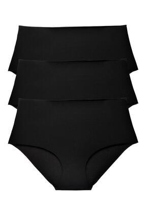 Sensu Kadın Siyah Yüksek Bel Lazer Kesim Külot 3 Lü Paket Set 0