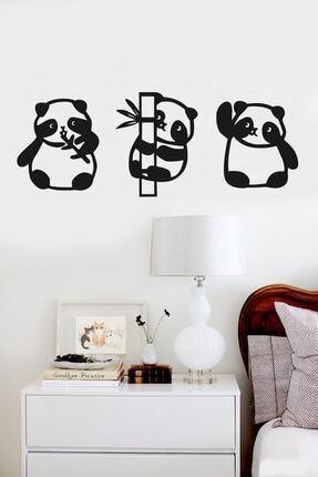 RetroLazer Panda 3lü Duvar Dekoru Siyah Ahşap Lazer Tablo Mdf 0