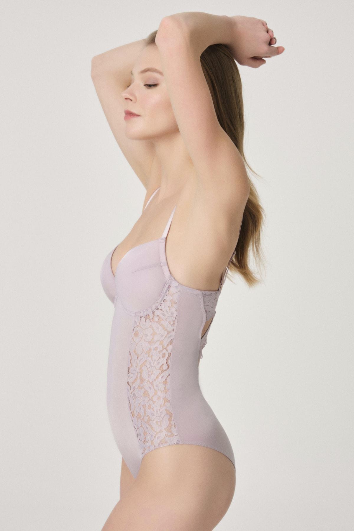 Soft Lila Tak Çık Cuplı Body