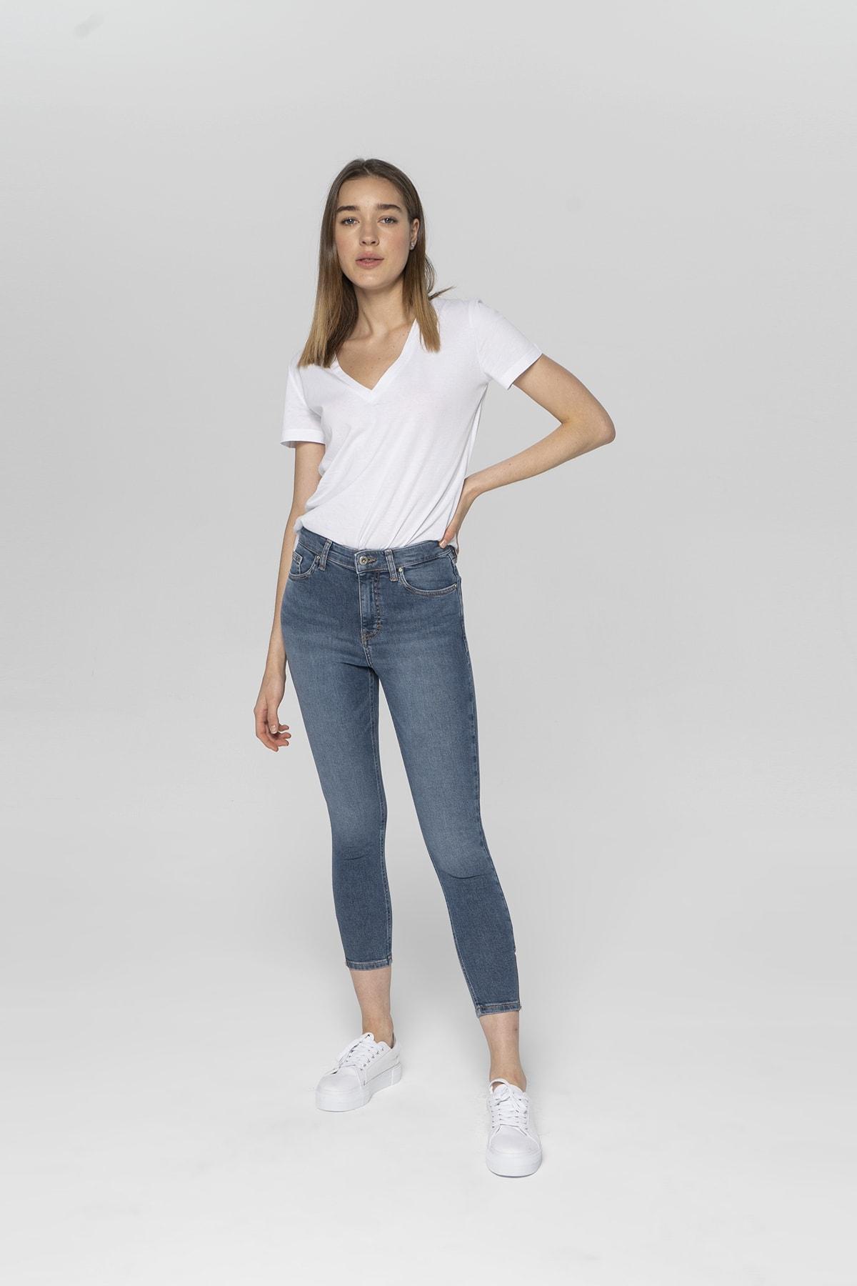 Judy Orta Mavi Yüksek Bel Paçası Fermuarlı Skinny Fit Jean Pantolon