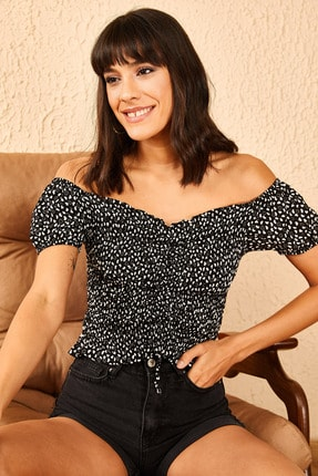 Bianco Lucci Kadın Siyah Madona Yaka Gipeli Önü Ayarlanabilir Bluz 10951022 2