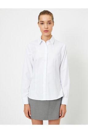 Koton Kadın Beyaz Uzun Kollu Gömlek 2