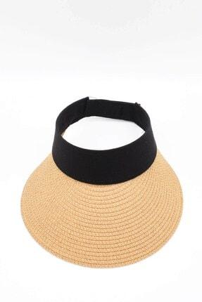 Külah Kadın Geniş Siperli Camel Vizör Hasır Plaj Şapkası 2