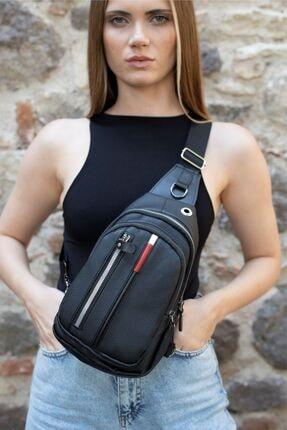 Av A Dos Unisex Siyah Deri Kulaklık Çıkışlı Çapraz Askılı Bel Omuz Çanta 3