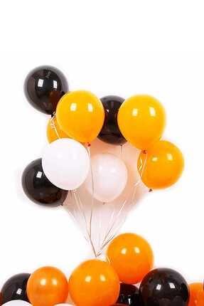 Magic Hobby 30 Adet Turuncu - Beyaz- Siyah Metalik Balon 3'lü Renk - 12 inç 0