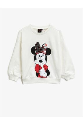 Koton Kız Çocuk Ekru Pamuklu Minnie Mouse Sweatshirt 0