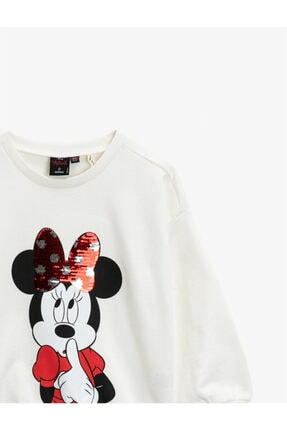 Koton Kız Çocuk Ekru Pamuklu Minnie Mouse Sweatshirt 2