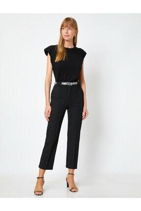 Koton Kadın Siyah Kemer Detaylı Pantolon 0