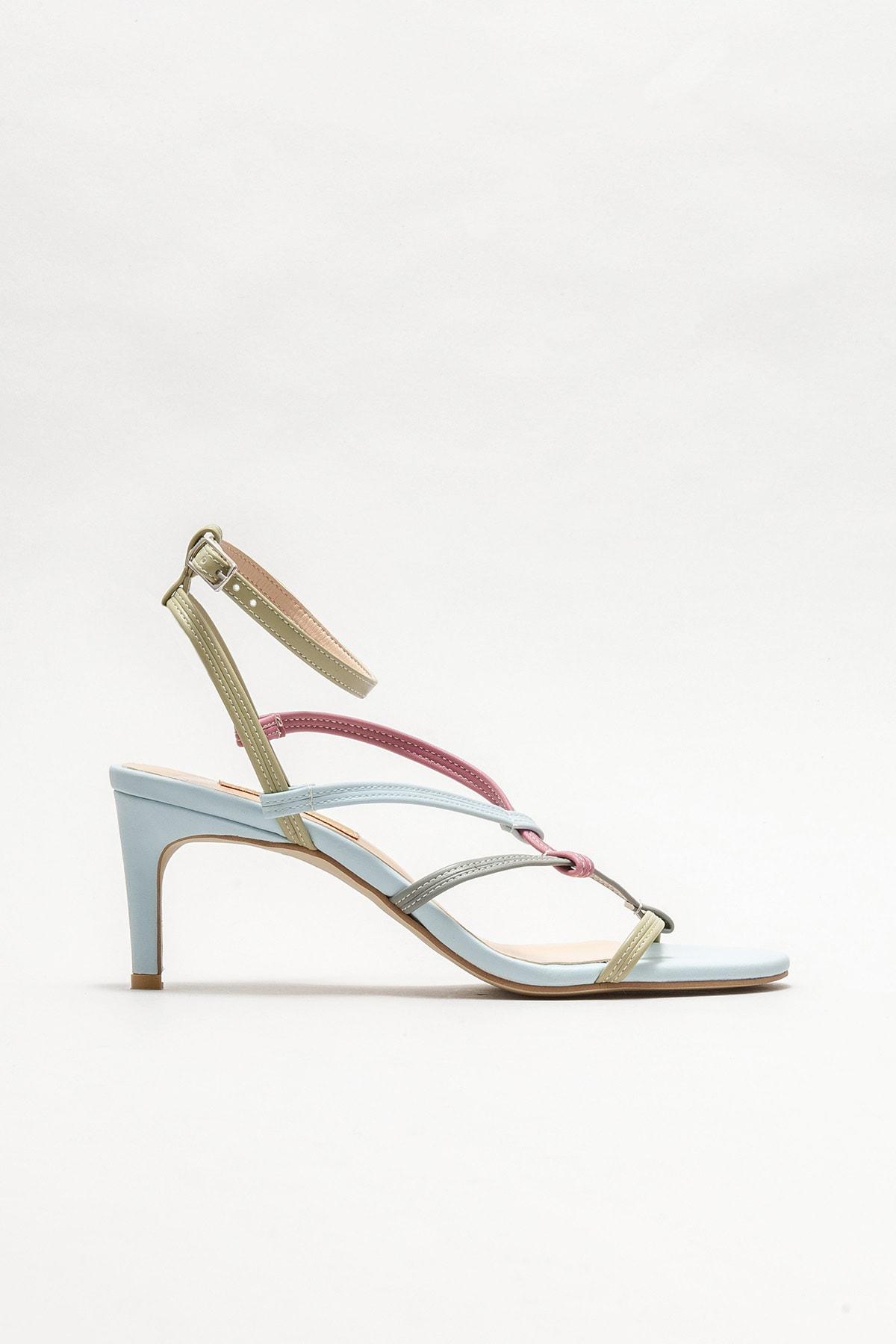 Kadın Mavi Topuklu Sandalet