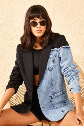 Bianco Lucci Kadın Siyah Kotlu Atlas Kumaş Ceket 10951003 0