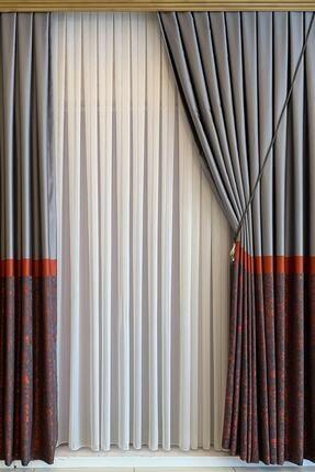 perfect curtain Pilesiz Çizgili Tül Düz Dikiş 0