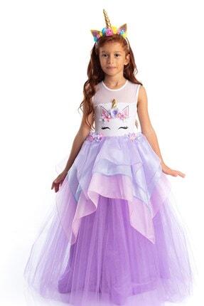 Tameris Kostüm Unicorn Elbise Lila Organze Katlı 0