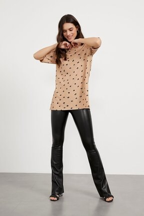 Arma Life Kadın Kahverengi Desenli Kaşkorse T-shirt 2