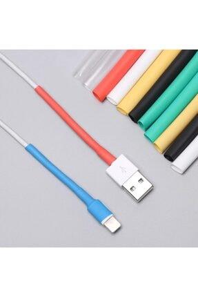 HONDEP Iphone Uyumlu Şarj Kablosu Karışık Renkli Koruyucu Makaron 12 Adet 6 cm 2