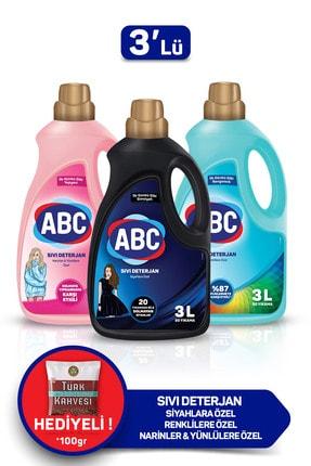 ABC Özel Sıvı Deterjan Bakım Seti 3 lt Siyahlar + Renkliler + Narinler 3'lü Set 0