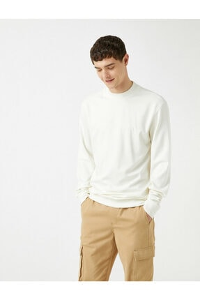 Koton Erkek Beyaz Sweatshirt 1KAM74082OK 1
