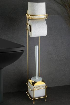Okyanus Home Gold Wc Kağıtlık Ve Beyaz Fırçalık 1