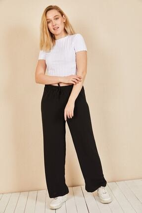 Moda Bu Kadın Siyah Beli Lastikli Bol Paça Salaş Yazlık Pantolon Aerobin-865829 2