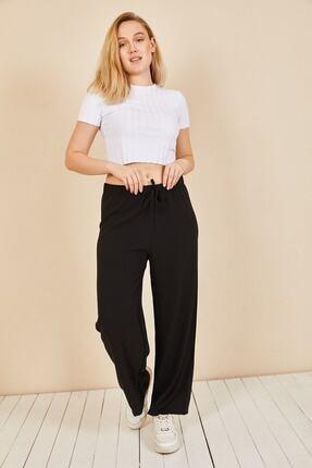 Moda Bu Kadın Siyah Beli Lastikli Bol Paça Salaş Yazlık Pantolon Aerobin-865829 3