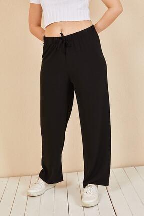 Moda Bu Kadın Siyah Beli Lastikli Bol Paça Salaş Yazlık Pantolon Aerobin-865829 4